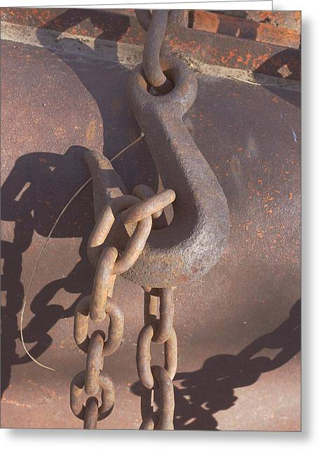 Rusted Hook And Chain Greeting Card by Ann Powell