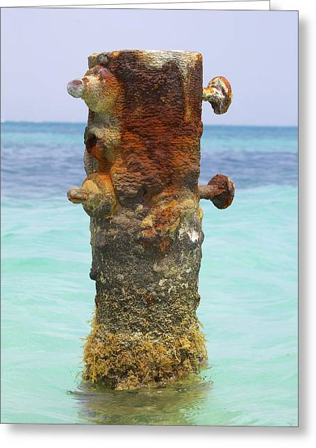 Reddish Flaking Iron Oxide Greeting Cards - Rusted Iron Fishing Pier Greeting Card by David Letts