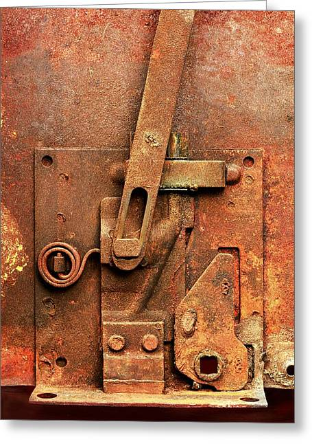 Mechanism Greeting Cards - Rusted Latch Greeting Card by Jim Hughes