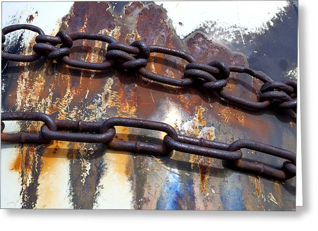 Ferrum Greeting Cards - Rusted Links Greeting Card by Fran Riley