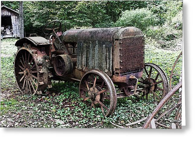 Rusted Mc Cormick-deering Tractor And Shed Greeting Card by Michael Spano