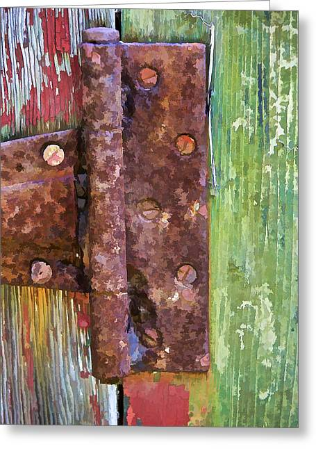 Old Crumbling Barn Greeting Cards - Rusted Metal Hinge on a Colorful Door Greeting Card by David Letts
