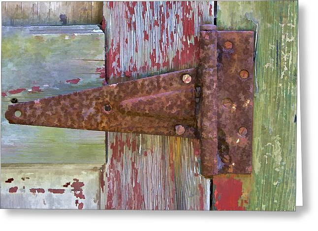 Worn In Greeting Cards - Rusted Metal Hinge on a Colorful Door II Greeting Card by David Letts