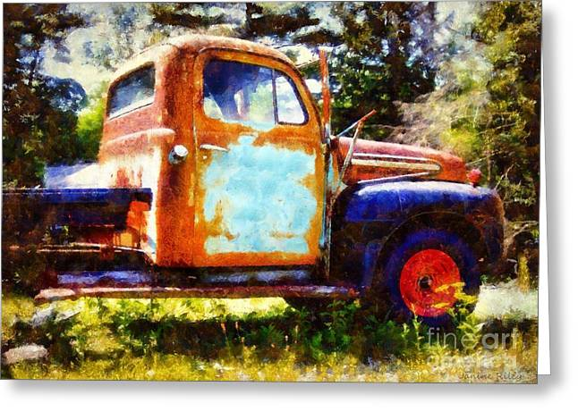 Truck Digital Greeting Cards - Rusted old Dodge Pickup Truck Greeting Card by Janine Riley