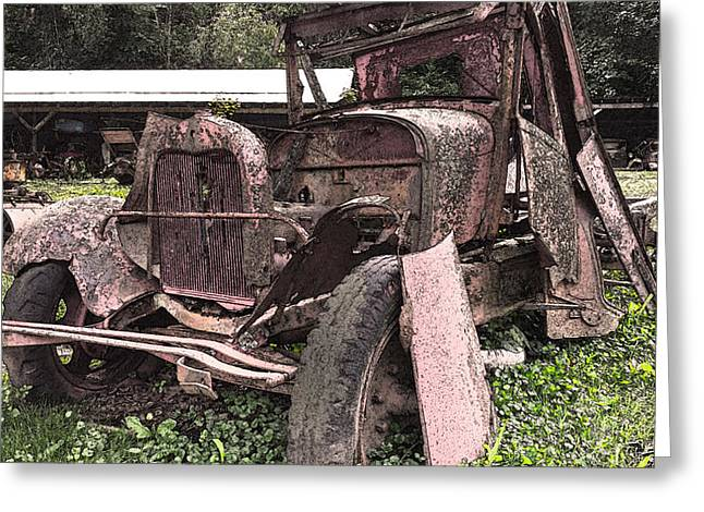 Rusted Cars Digital Art Greeting Cards - Rusted Pickup in Pieces Greeting Card by Michael Spano