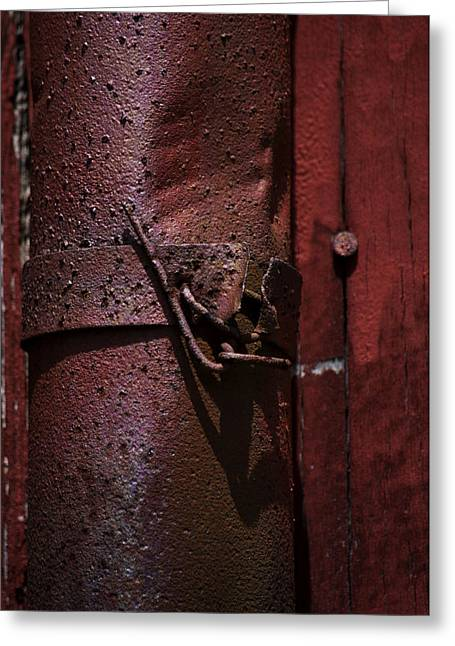Rusted Pipe And Red Barn 2 Greeting Card by Rebecca Sherman