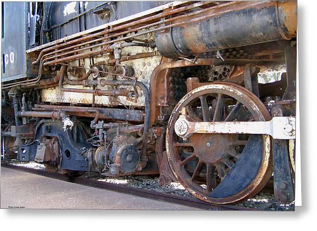 Transportation Reliefs Greeting Cards - Rusted Railroad Engine Greeting Card by Suhas Tavkar