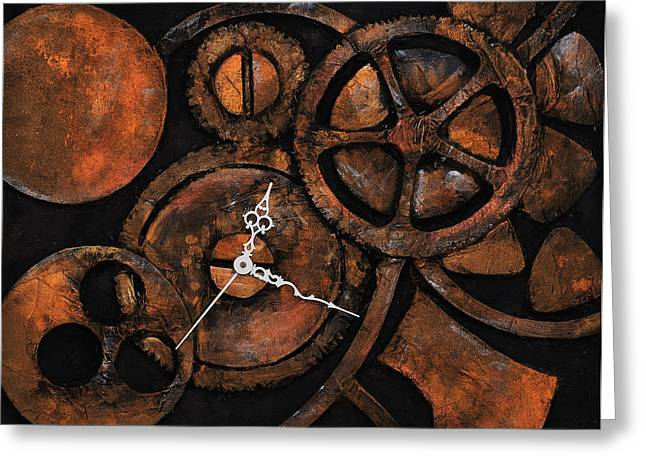 Metallic Reliefs Greeting Cards - Rusted Time Greeting Card by Jo Shin