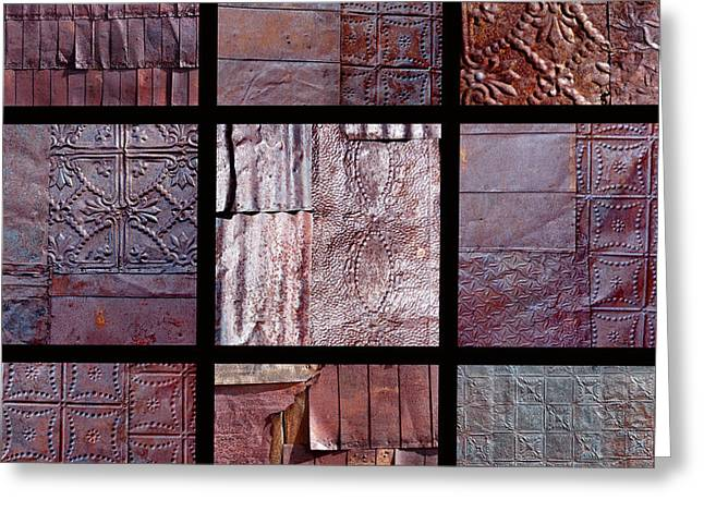 Montage Art Greeting Cards - Rusted Tin Greeting Card by Art Block Collections