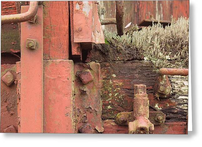 Rusted Cars Drawings Greeting Cards - Rusted Train Car Close-up Greeting Card by Debra Boyle