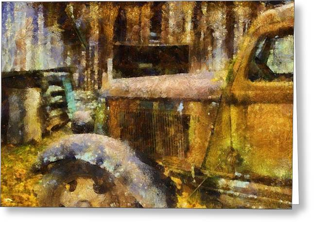 Rusted Cars Greeting Cards - Rusted Truck In Autumn Greeting Card by Dan Sproul