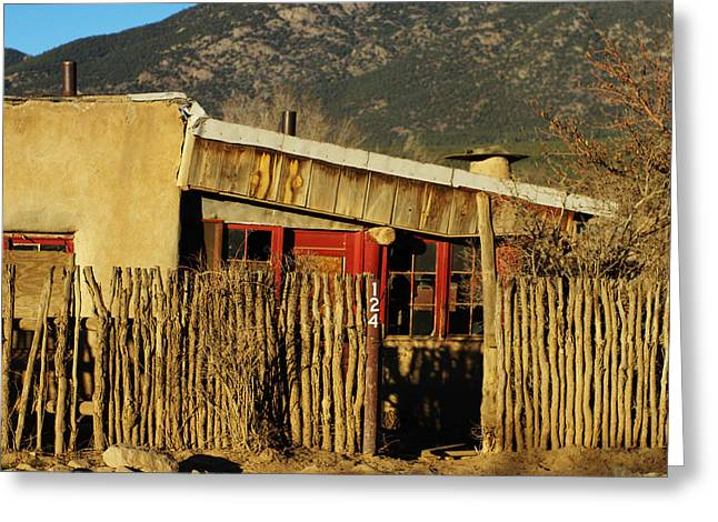 Rustic Adobe Desert Home Greeting Card by Amber Smith
