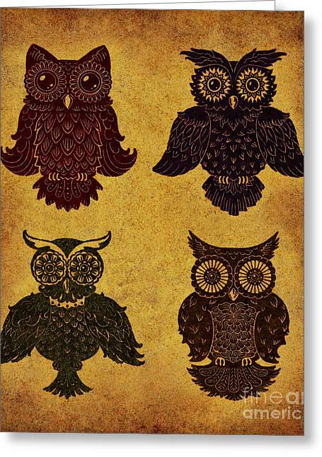 Lino Mixed Media Greeting Cards - Rustic Aged 4 Owls Greeting Card by Kyle Wood