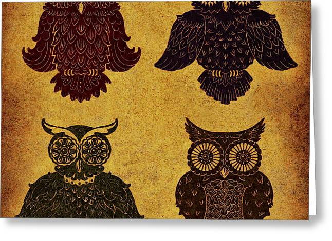 Rustic Aged 4 Owls Greeting Card by Kyle Wood