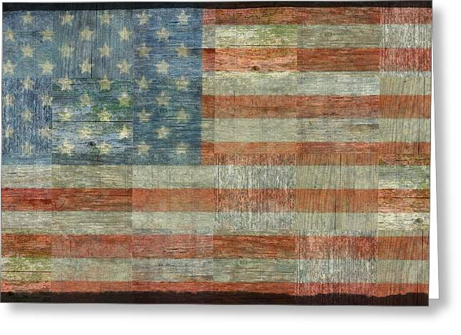 Flag Of Usa Greeting Cards - Rustic American Flag Greeting Card by Michelle Calkins
