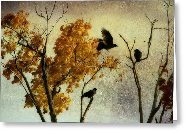 Rustic Colors Greeting Cards - Rustic Autumn Crows Greeting Card by Gothicolors Donna Snyder