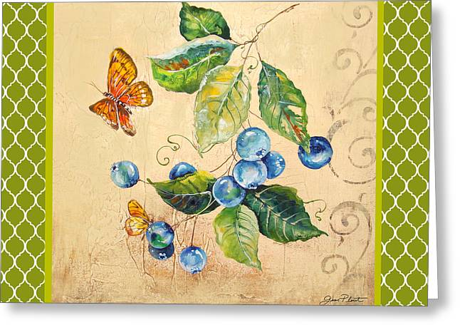 Rustic Blueberries On Moroccan Greeting Card by Jean Plout