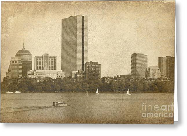 Charles River Mixed Media Greeting Cards - Rustic Boston Greeting Card by Jayne Carney