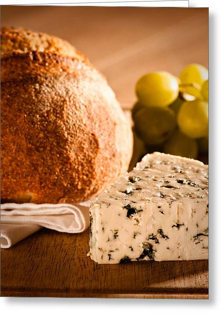 White Cloth Greeting Cards - Rustic Bread With Cheese Greeting Card by Amanda And Christopher Elwell