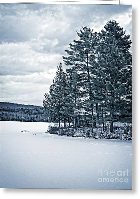 Cold Photographs Greeting Cards - Rustic Cabin on the Pond Greeting Card by Edward Fielding