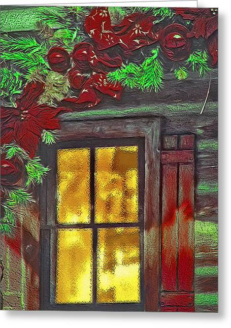 Cabin Window Mixed Media Greeting Cards - Rustic Christmas Window Greeting Card by Steve Ohlsen