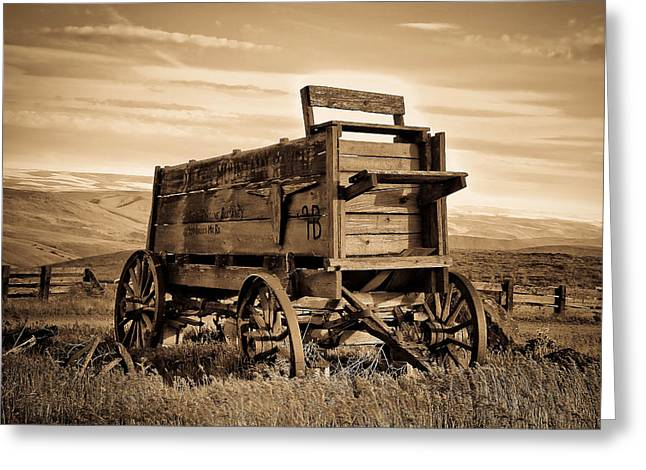 Horse And Cart Greeting Cards - Rustic Covered Wagon Greeting Card by Athena Mckinzie