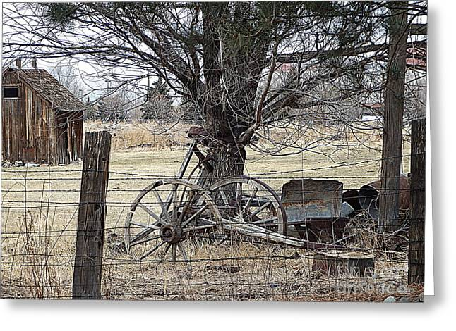 Sled.fence Greeting Cards - Rustic Days Gone By Greeting Card by Bobbee Rickard