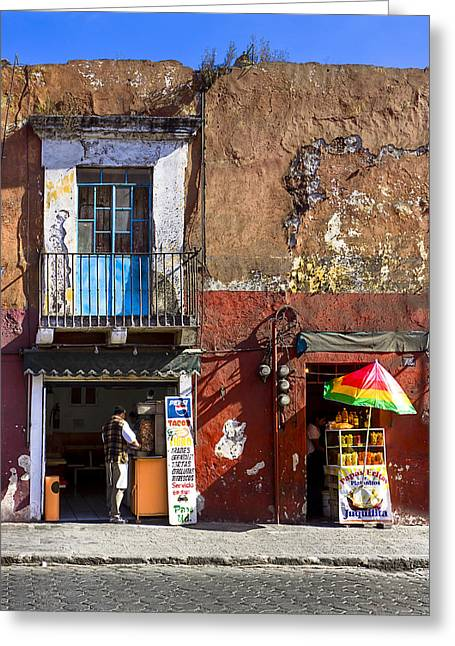 Puebla Greeting Cards - Rustic Dining in Puebla Mexico Greeting Card by Mark Tisdale