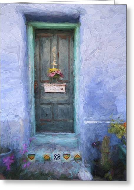 Neighborhoods Greeting Cards - Rustic Door in Tucson Barrio Painterly Effect Greeting Card by Carol Leigh