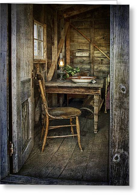 Rustic Doorway With Vintage Chair And Table Setting With Oil Lamp Greeting Card by Randall Nyhof