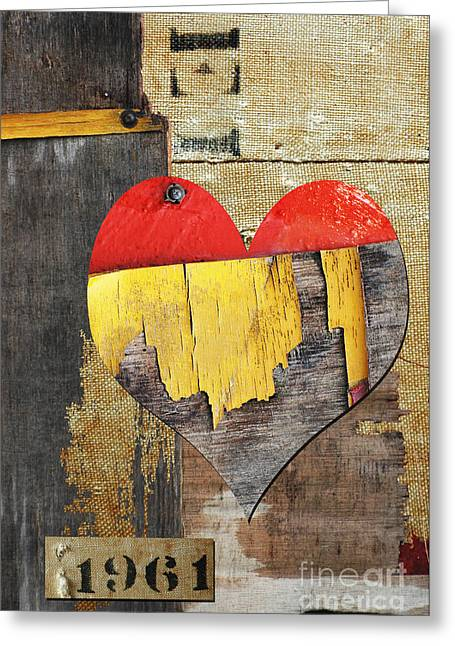 Romance Mixed Media Greeting Cards - Rustic Fantastic Love in the Sixties Greeting Card by Anahi DeCanio
