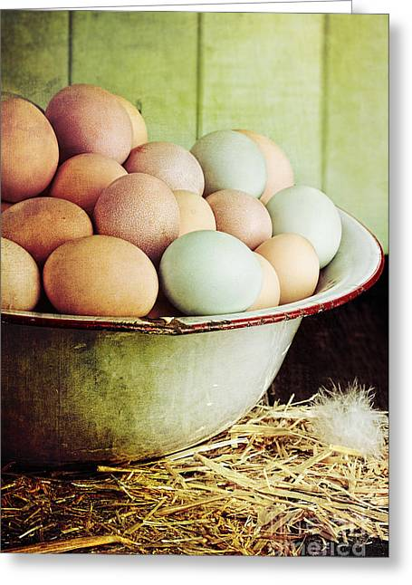 Wooden Bowl Greeting Cards - Rustic Farm Raised Eggs Greeting Card by Stephanie Frey