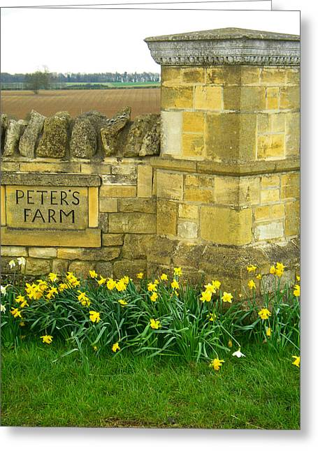 Geobob Greeting Cards - Rustic Farm Wall and Gate near Broadway Towers Cotswold District England Greeting Card by Robert Ford