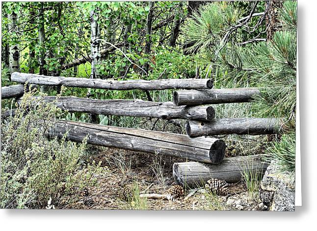 Log Cabin Interiors Greeting Cards - Rustic Fence Greeting Card by Cheryl Young