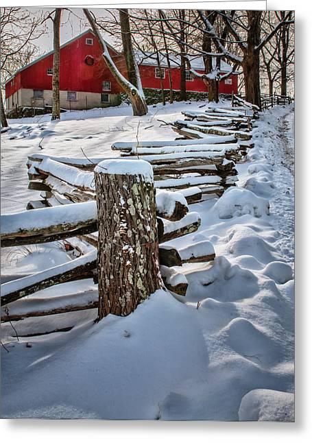 Roxbury Greeting Cards - Rustic fence to Maple Hill Farm - Roxbury Ct Greeting Card by Thomas Schoeller