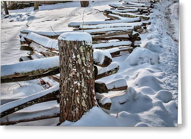Rustic fence to Maple Hill Farm - Roxbury Ct Greeting Card by Thomas Schoeller