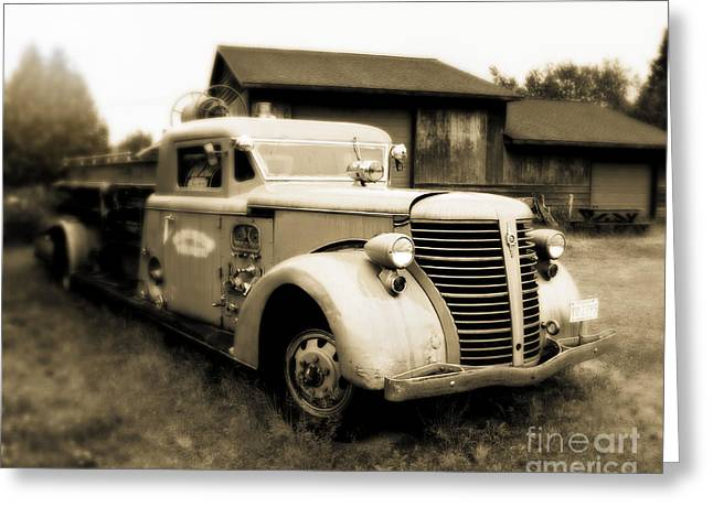 Old Trucks Greeting Cards - Rustic Fire Engine Greeting Card by Perry Webster