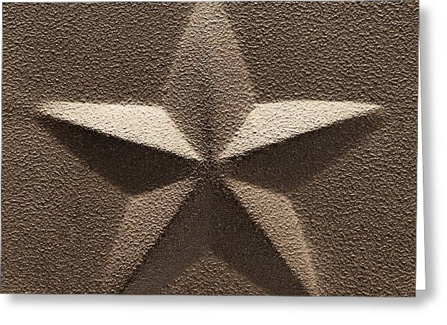 Embossed Greeting Cards - Rustic Five Point Star Greeting Card by Olivier Le Queinec