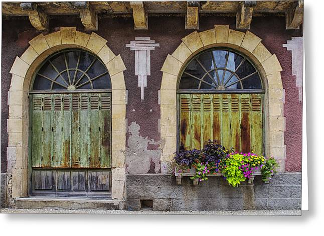 French Door Greeting Cards - Rustic French Architecture in Monflanquin Greeting Card by Nomad Art And  Design