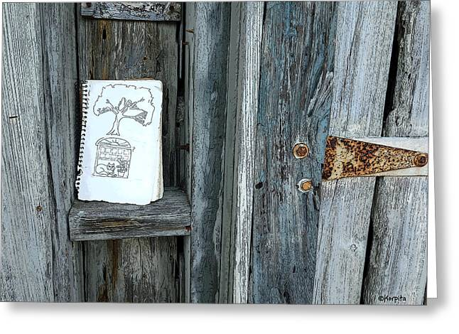Cedar Key Greeting Cards - Rustic Gate Random Art Cedar Key Greeting Card by Rebecca Korpita