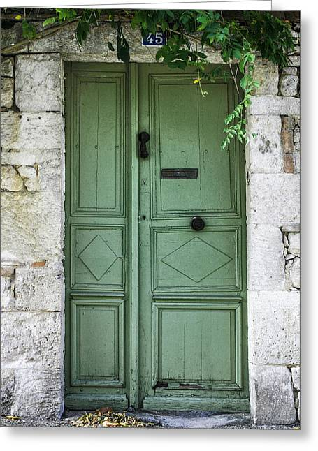 Stone House Greeting Cards - Rustic green door with vines Greeting Card by Georgia Fowler