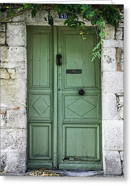 Georgia Fowler Greeting Cards - Rustic green door with vines Greeting Card by Georgia Fowler