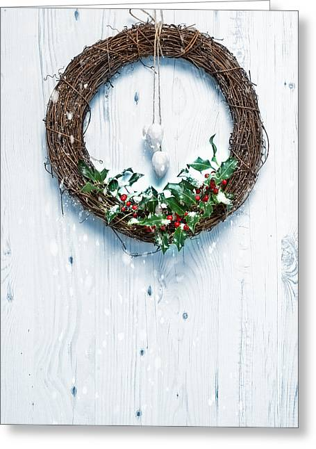 Christmas Doors Greeting Cards - Rustic Holiday Garland Greeting Card by Amanda And Christopher Elwell