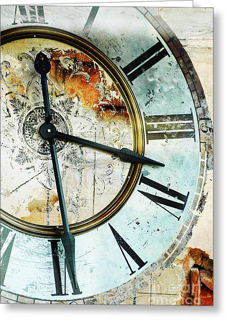 Love Letter Greeting Cards - Rustic Industrial Clock Greeting Card by ArtyZen Home