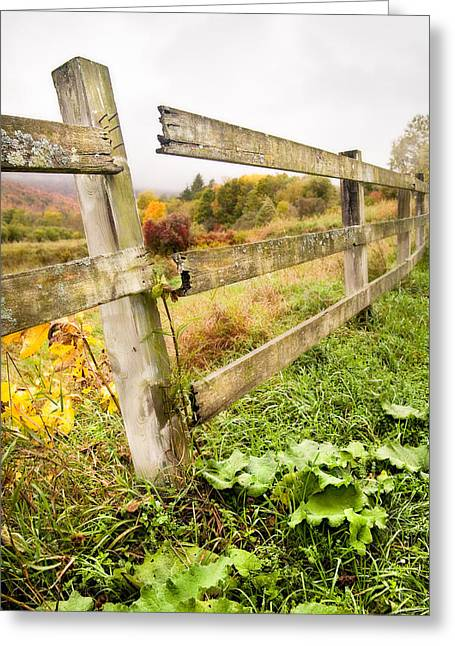 Autumn Prints Greeting Cards - Rustic Landscapes - Broken fence Greeting Card by Gary Heller