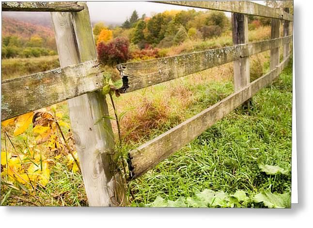 Rustic Landscapes - Broken fence Greeting Card by Gary Heller