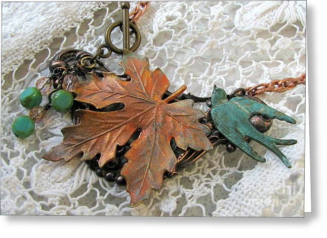 Rustic Jewelry Greeting Cards - Rustic Leaf and Bird Necklace Greeting Card by Cates Boutik