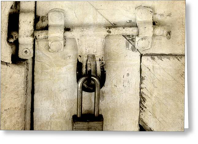 Industrial Background Greeting Cards - Rustic Lock Out Greeting Card by Davina Washington