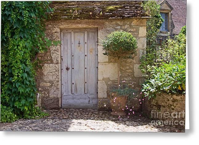 French Doors Greeting Cards - Rustic Mediterranean doorway Greeting Card by Ruth Black