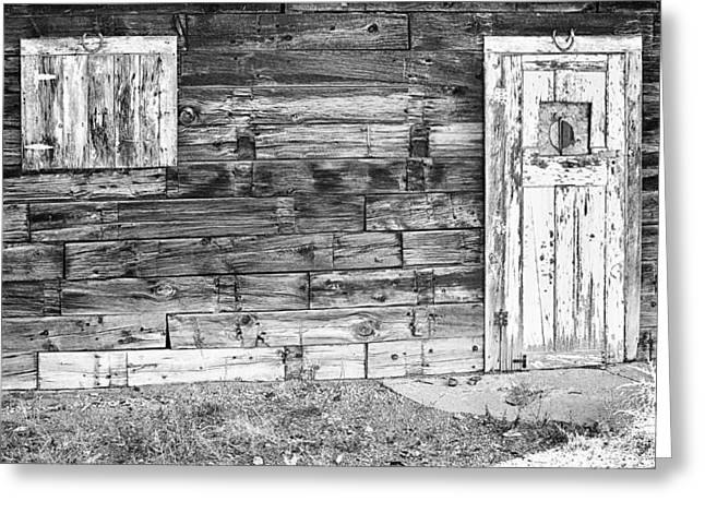 Mining Photos Greeting Cards - Rustic Old Colorado Barn Door and Window BW Greeting Card by James BO  Insogna